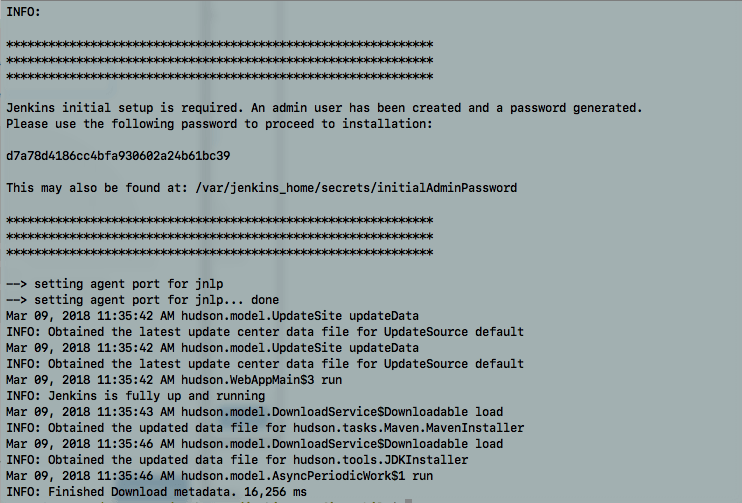 Jenkins output of the initial password in the command line