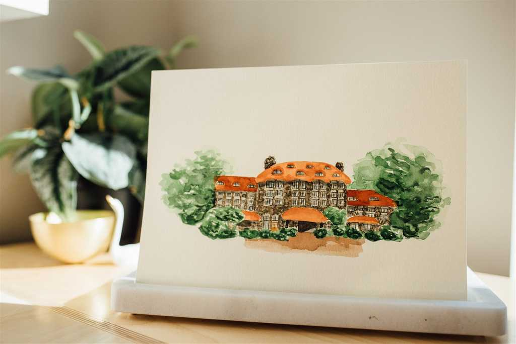 The Grove Park Inn watercolor wedding venue illustration