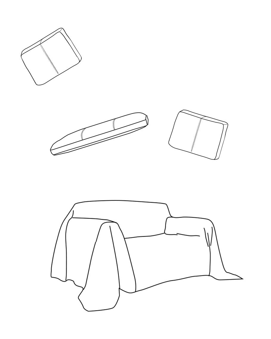 Dessin des différentes parties d'un canapé