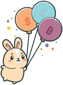 Bunny holding balloons
