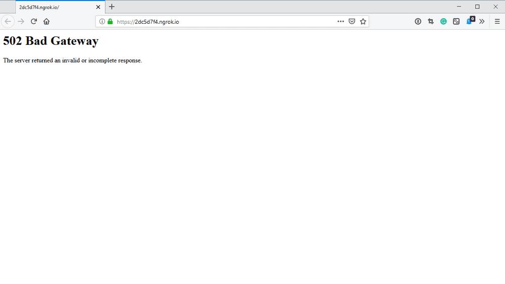 Bad gateway error when accessing the website