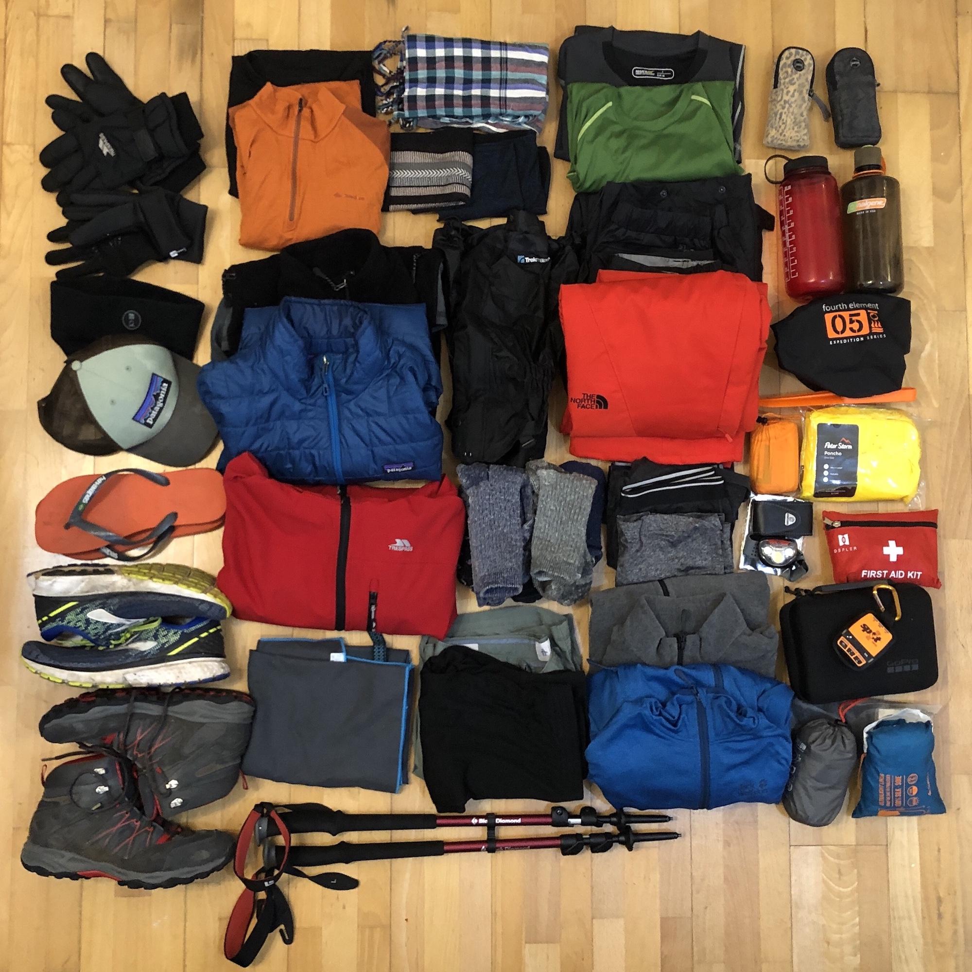 My kit for the Kili trek