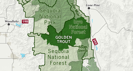 area map of Golden Trout Wilderness