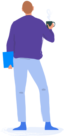 Illustrated user with coffee