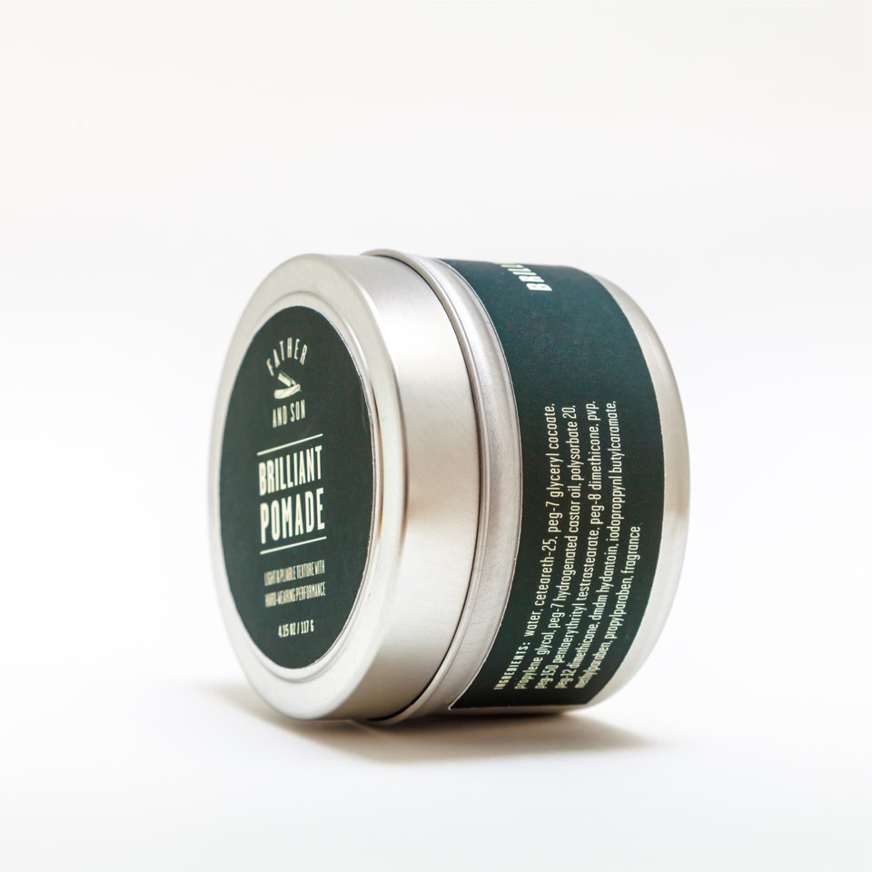 Pomade package design side detail