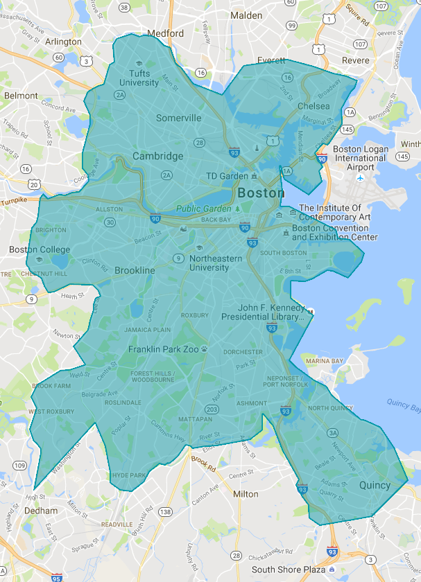 map of greater Boston area with Dec 2016-Jan 2017 Uber Plus overlay