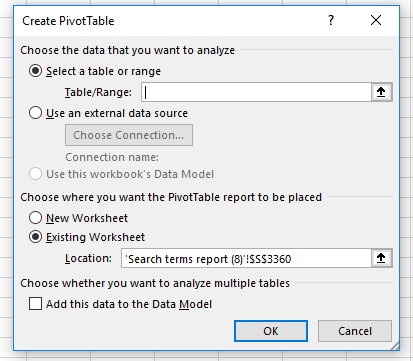 PivotTable creation