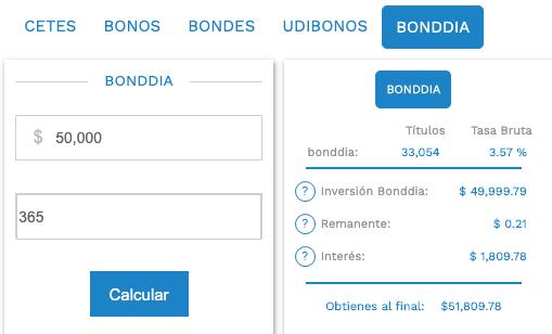 Calculadora de Cetesdirecto, mostrando inversión con Bonddia