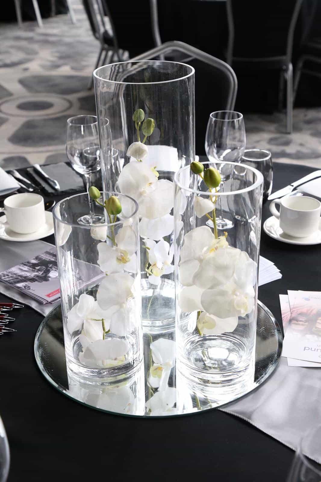 Wedding breakfast table triple vase centrepiece