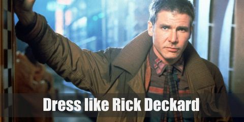 Rick Deckard is often seen to wear long-sleeved blue shirt with red plaid necktie topped with a long brown coat, a pair of brown pants and leather belt, and brown leather shoes.