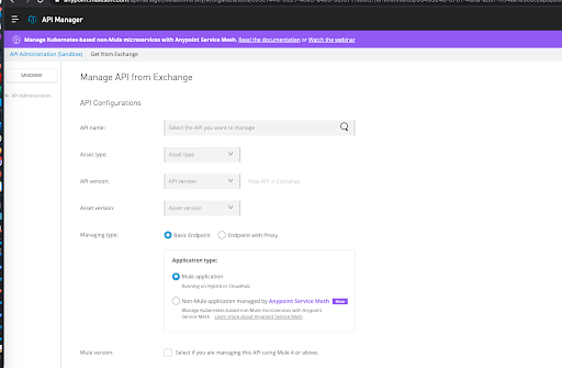 Mulesoft manage API screen