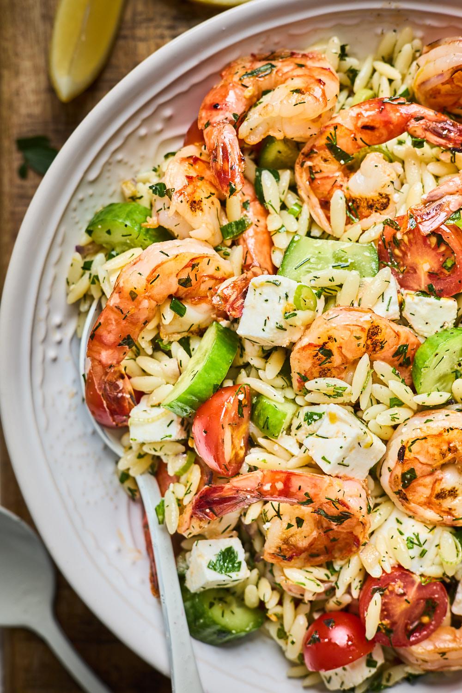Greek Style Grilled Shrimp Orzo Pasta Salad