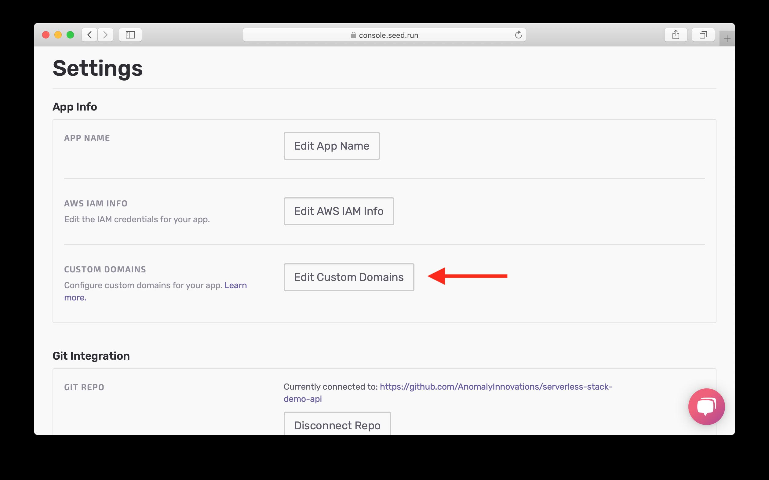 Click Edit Custom Domains in app settings screenshot
