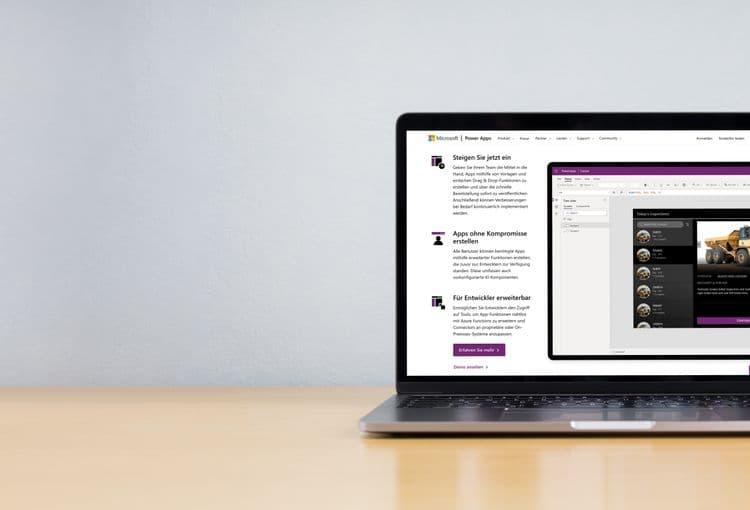 Laptop mit Power Apps auf Bildschirm