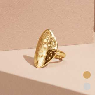Pilgrim Hammered Oval-Face Ring