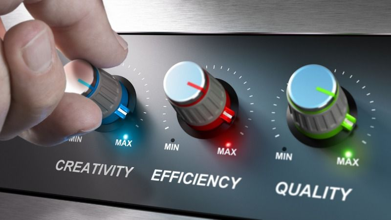 A symbolic image signifying the maximization of creativity, efficiency and quality by showing a technical control unit with three labeled knobs turned to maximum.