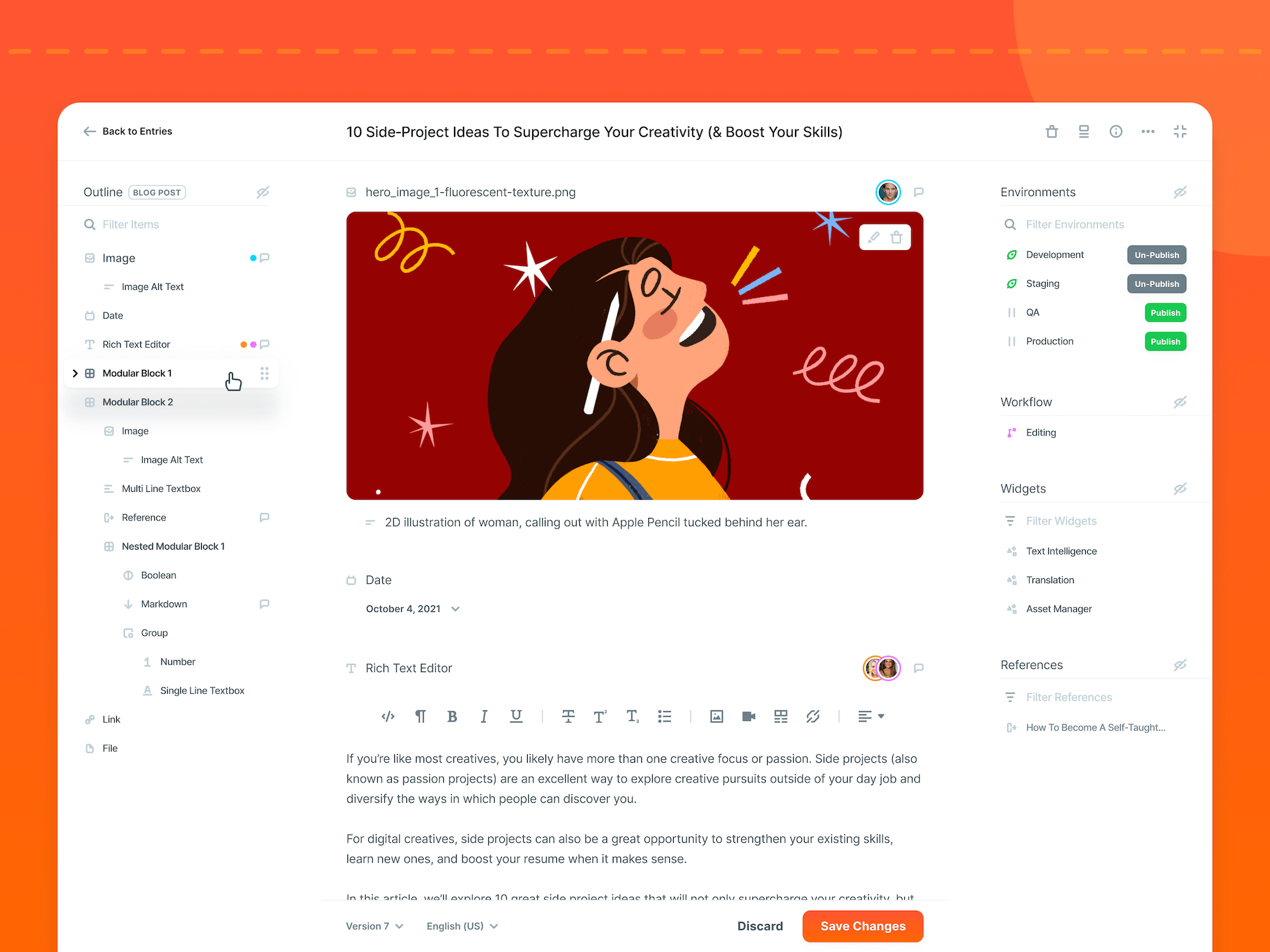 Contentstack CMS UI Updates - Entry Editor