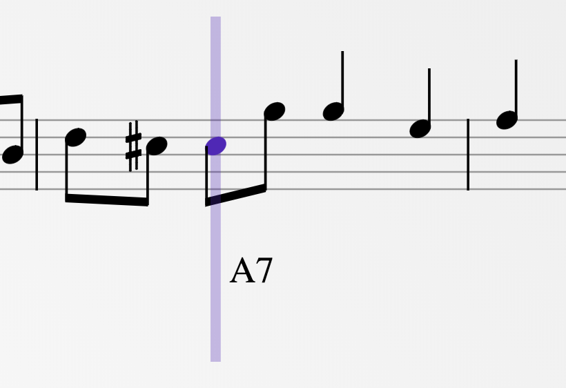 Zoomed in screenshot of Tapcompose at a single bar with a single note selected.