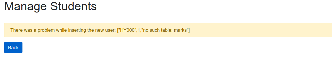 Error: no such table: marks