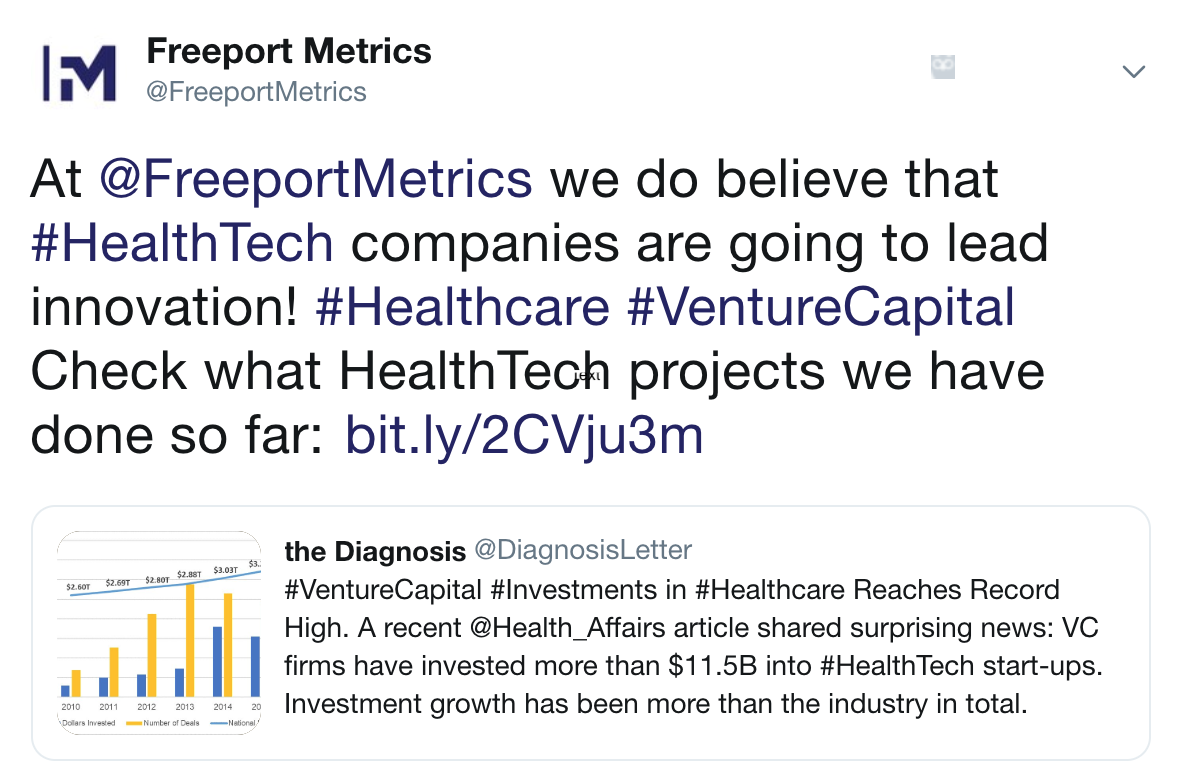 Twitter, healthcare, healthtech, investment in healthtech, venture capital, growth, digital healthcare