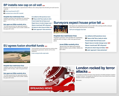Layout variations available to editors on the new BBC News website