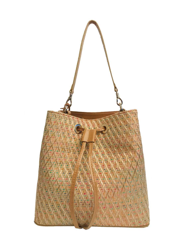 Alya Bucket Small Textile - beige diamond pattern