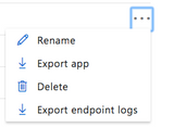 Opening the menu in the top right corner of LUIS Applications reveals the Export app option.