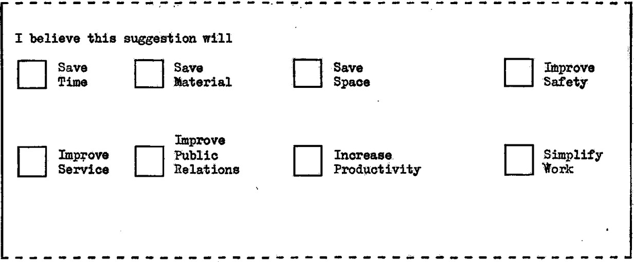 """Question with title: I believe this suggestion will: Checkboxes fields with labels: """"Save time"""", """"Save material"""", """"Save space"""", """"Improve safety"""", """"Improve service"""", """"Improve public relations"""", """"Increase productivity"""", """"Simplify work""""."""