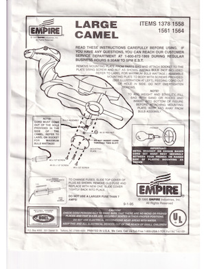 Empire Deluxe Camel #1378, Life-Size Camel #1558, #1561, Deluxe Camel #1564 Instruction Manual (1995-09-01).pdf preview