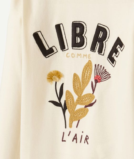 T-shirt en coton brodé Libre comme l'air