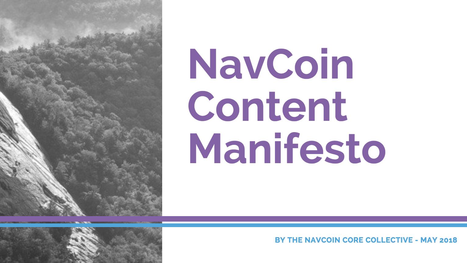 NavCoin Content Manifesto