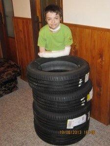 Poděkování za nové pneu