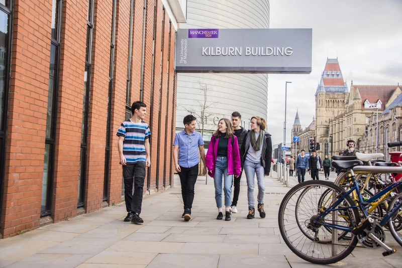 University of Manchester students walking on campus