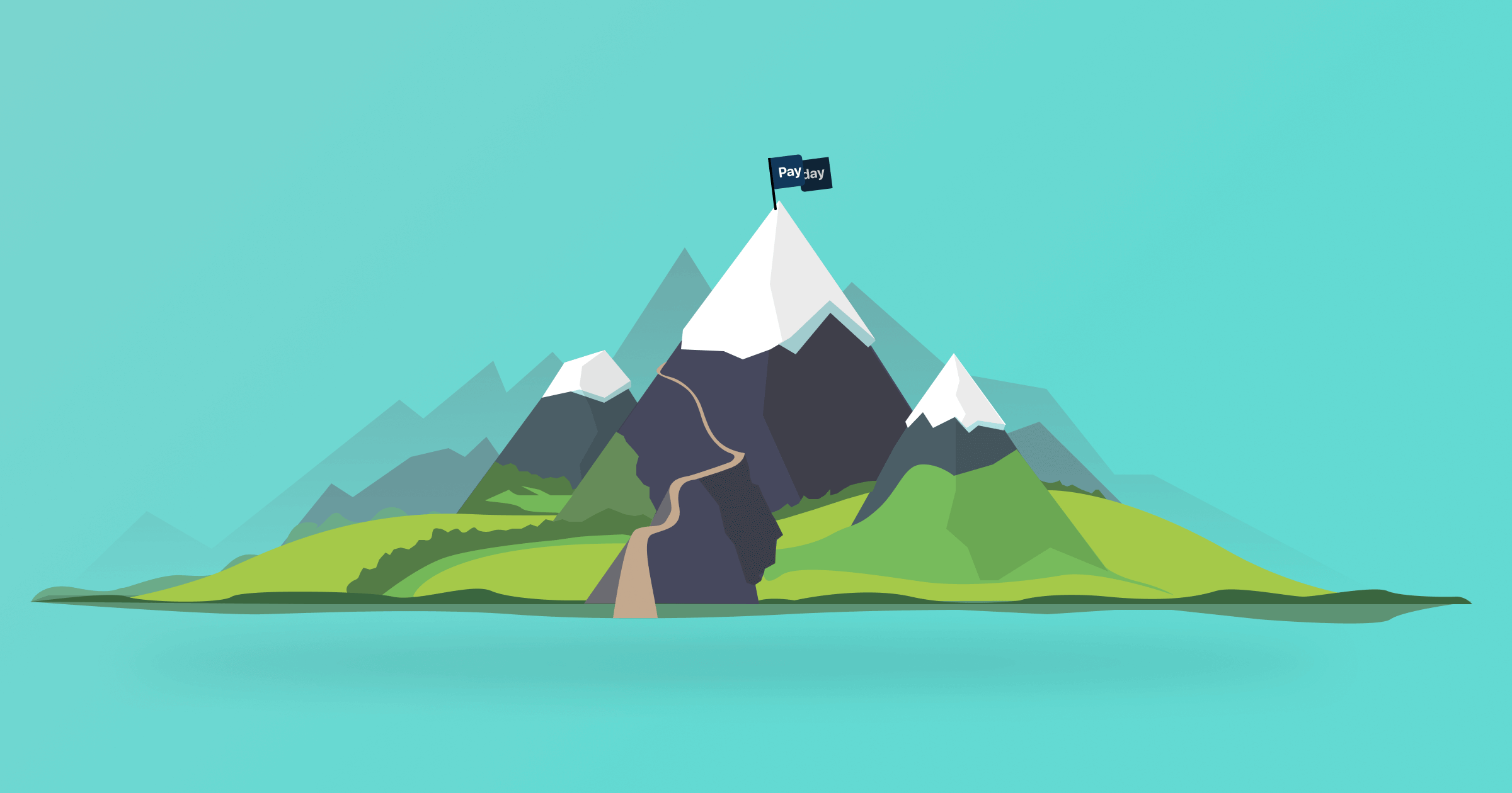"""A trail leading up a mountain, with a flag that says """"Payday"""" at the top of the mountain."""