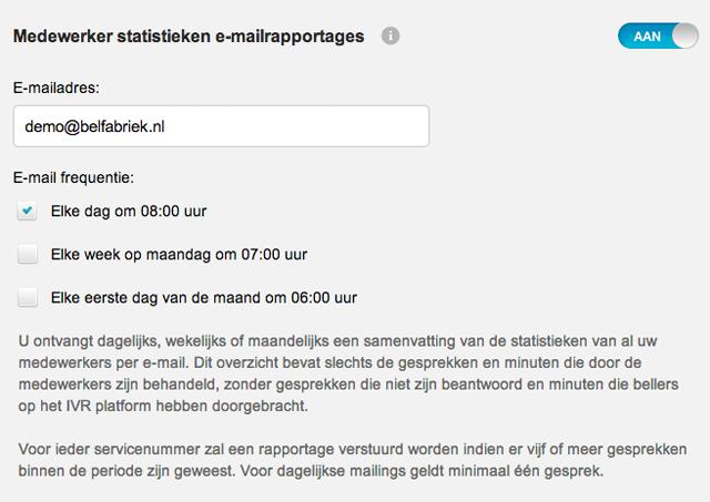 Medewerker statisiteken e-mail zet u snel en eenvoudig op met het online dashboard van de belfabriek