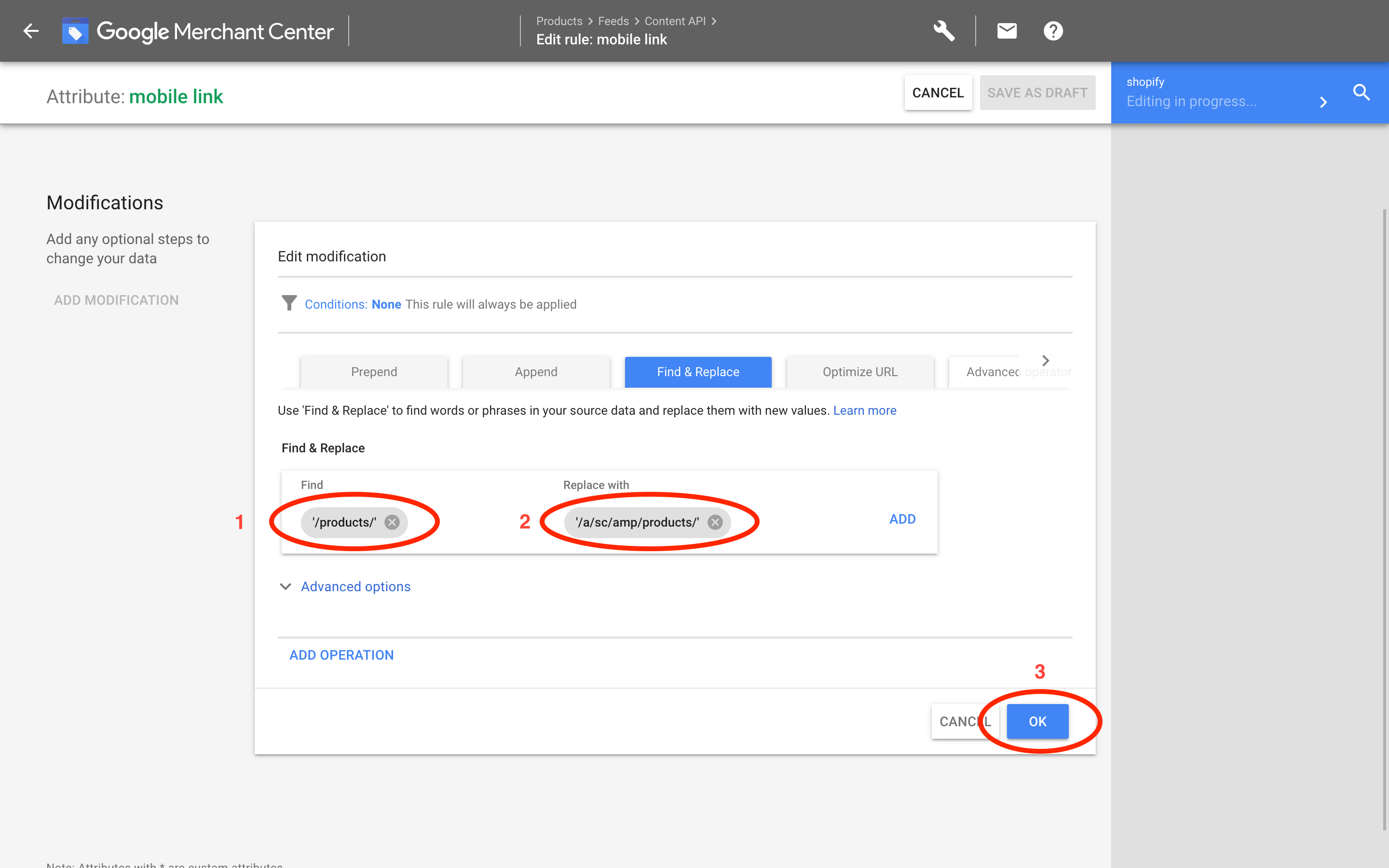 Google Merchants: Link find and replace