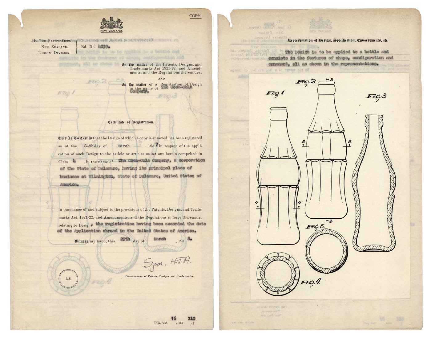 Design Patent for Coca Cola, from Archives New Zealand
