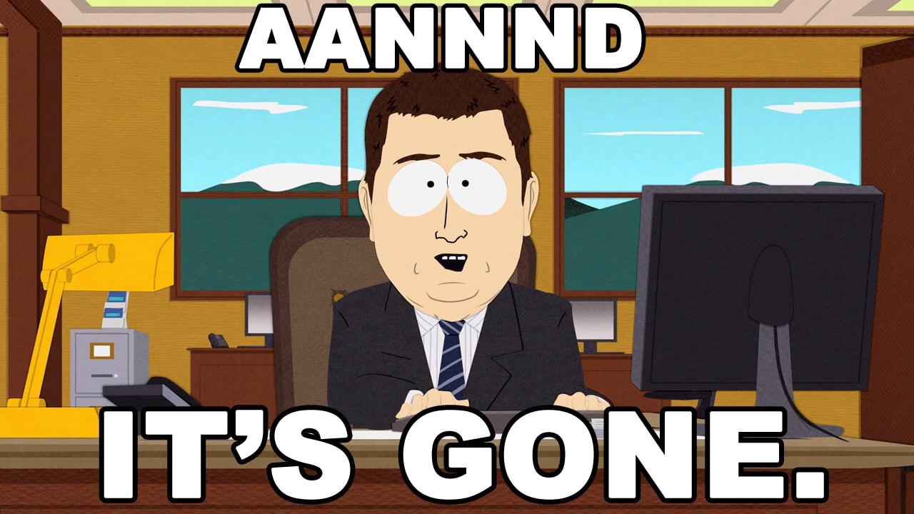 Aannnd it's gone
