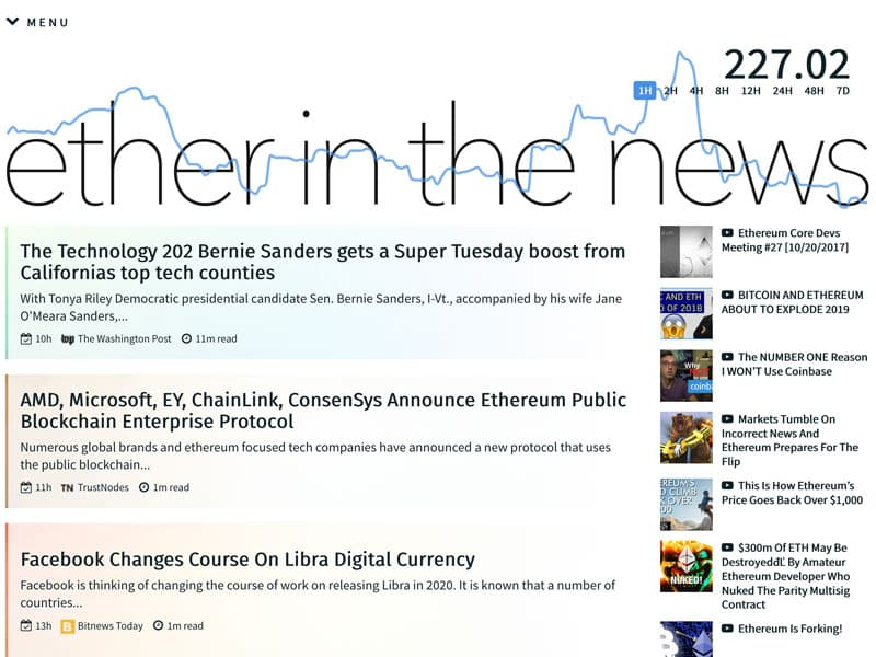 Ether in the News