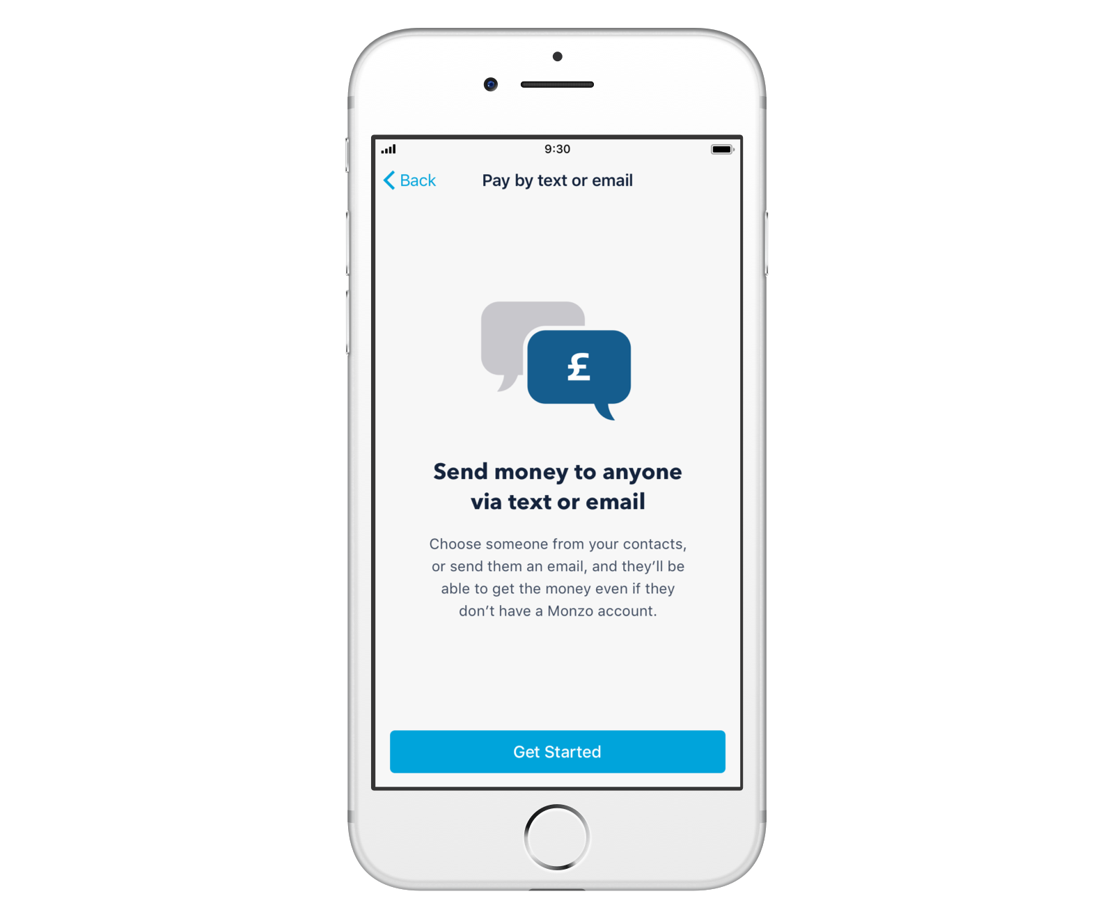 Screenshot of paying someone by text or email