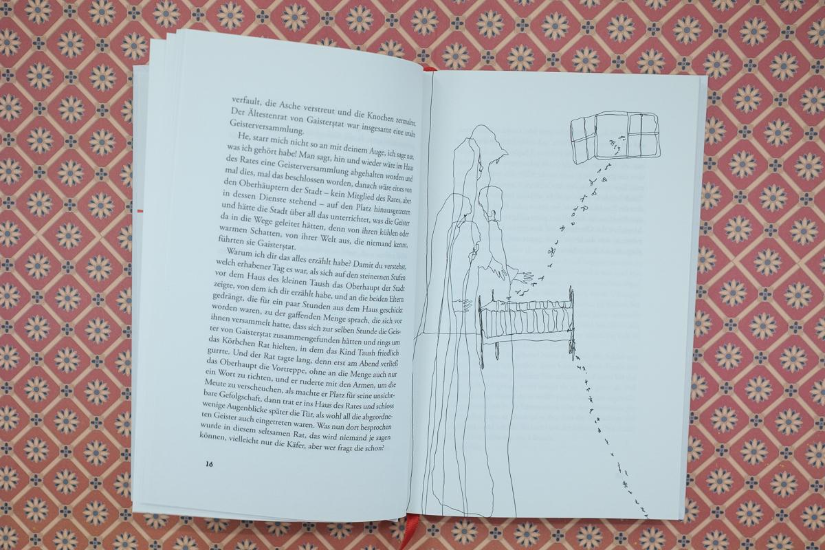 Illustrationen im Band Der Heilige mit der roten Schnur von Flavius Ardelean.