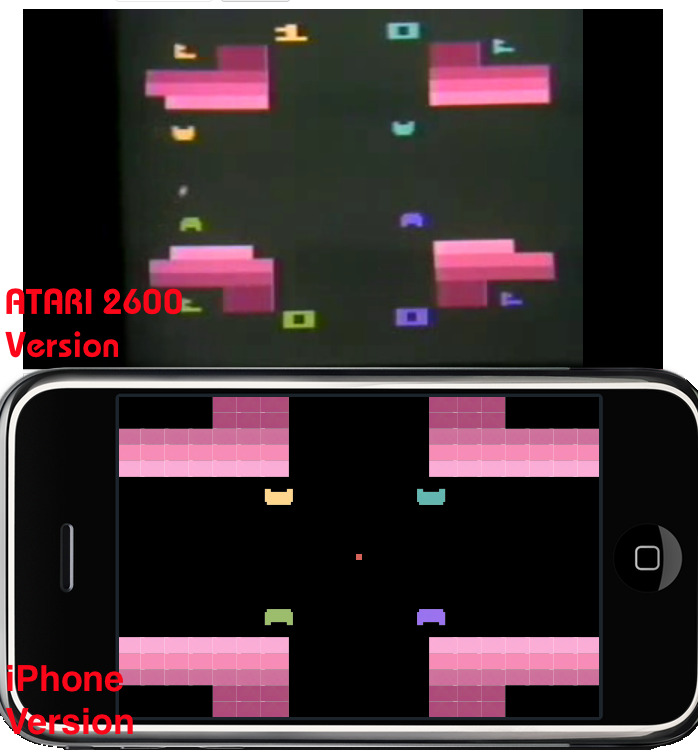 Atari Warlords vs iPhone Battleball