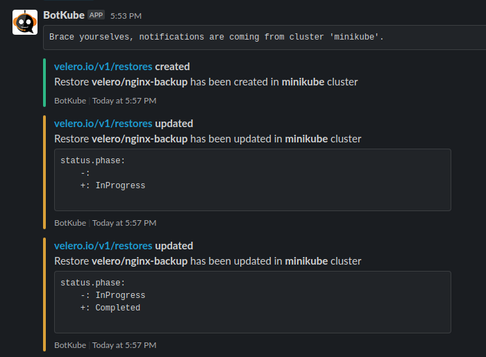 A Slack message by BotKube about Restore