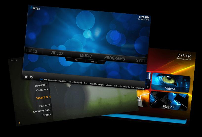 The three media center applications to run on the home theatre PC; Plex, MediaPortal and Kodi.