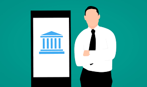 Cartoon drawing of person standing besides smartphone with an image of a bank