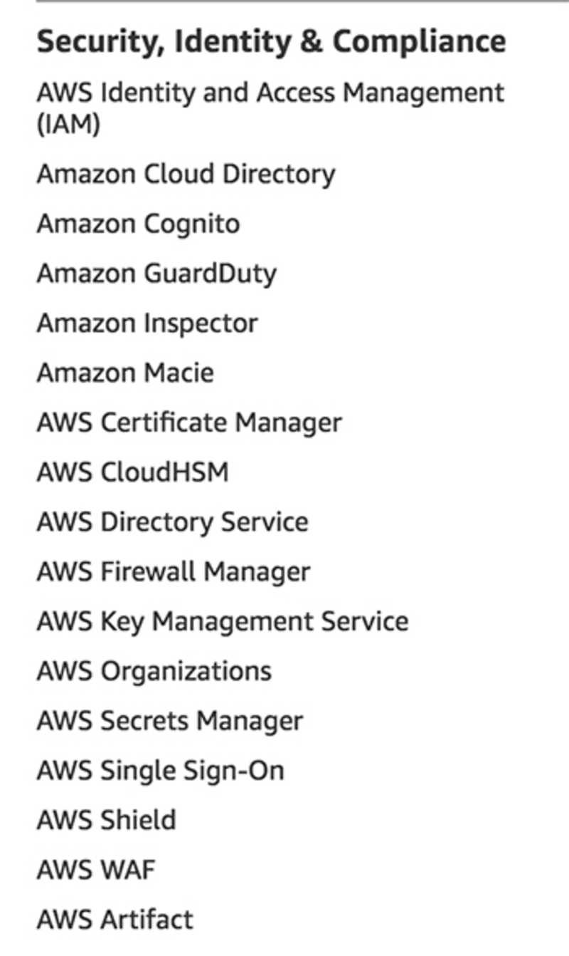 Security services as listed on aws.amazon.com
