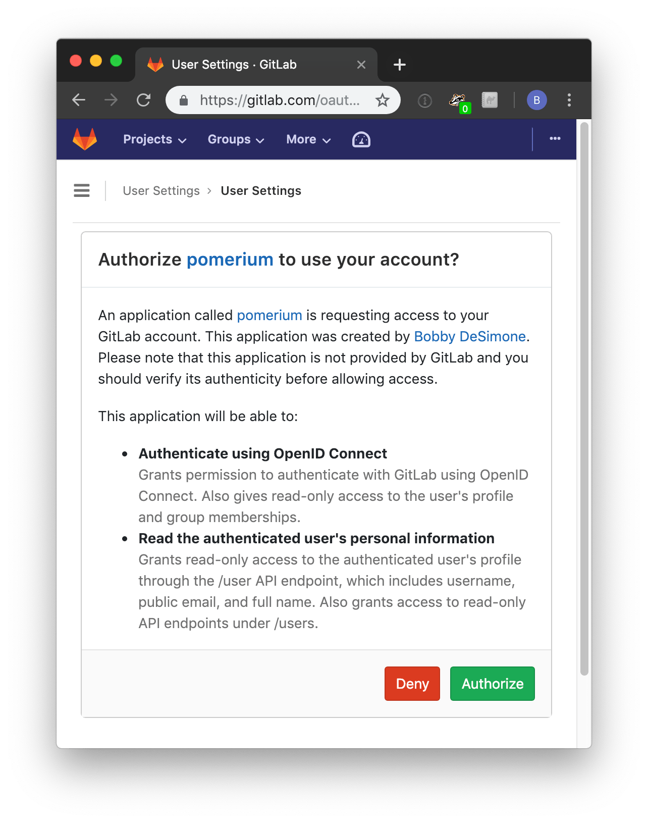 gitlab access authorization screen