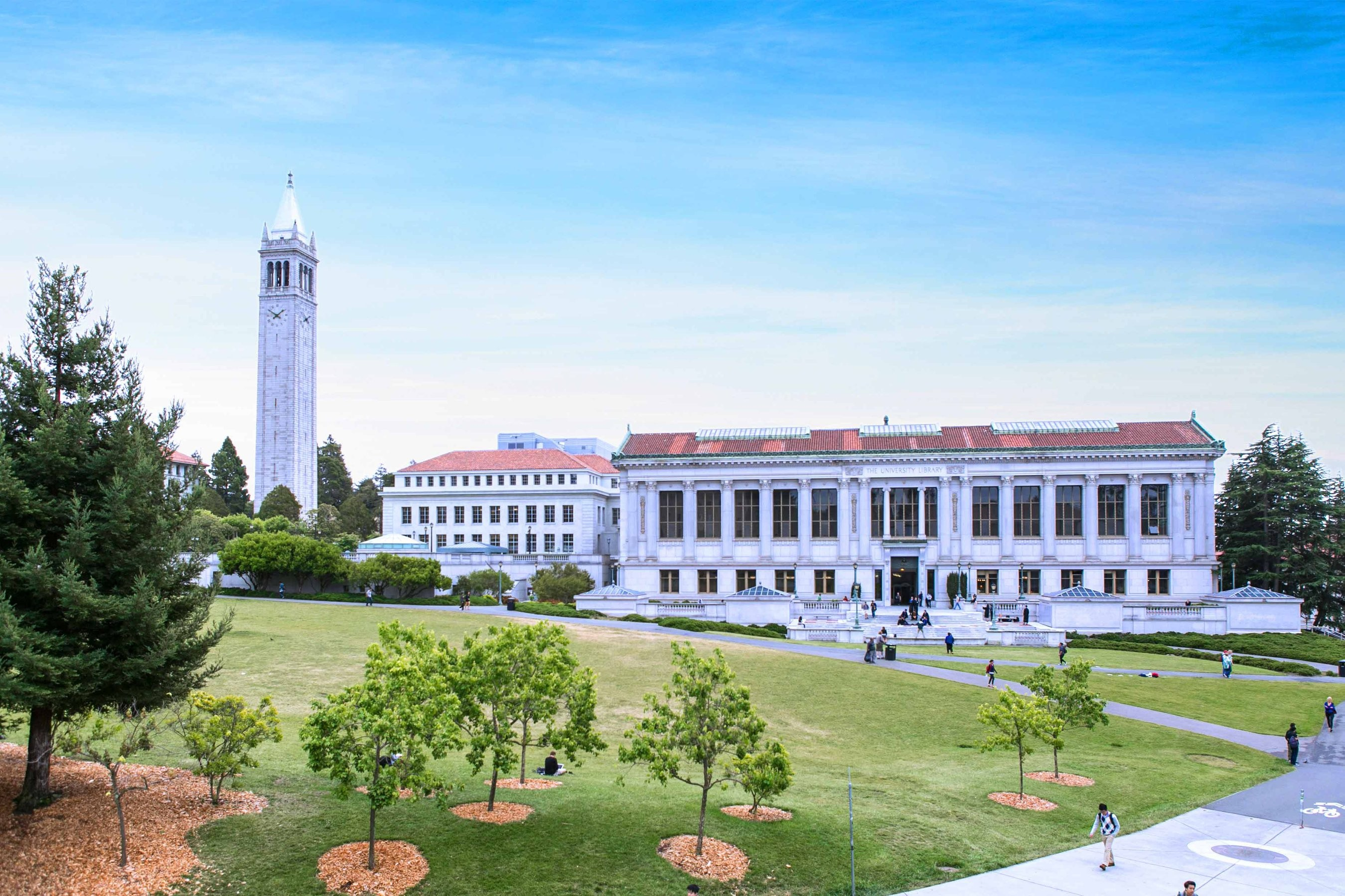 The Sather Clock Tower, or Campanile, rises above Memorial Glade at the UC Berkeley campus