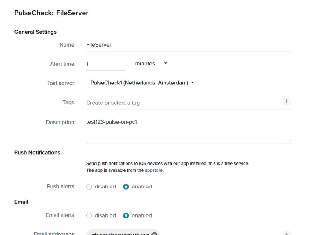 PulseCheck settings screenshot