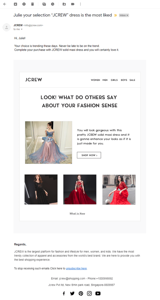 Jcrew 2nd email template